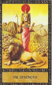 Egyptian goddess Sekhmet as the Strength card