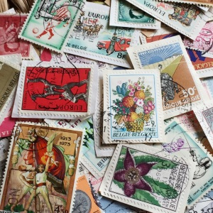 My old collection of European stamps - great for making handmade postcards!