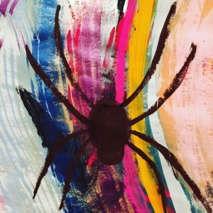 Spider made her way into one of my recent paintings in Chris Zydel's intuitive painting session