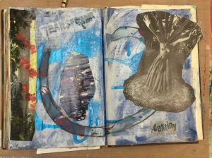 My page with images and words collaged onto it with glue.