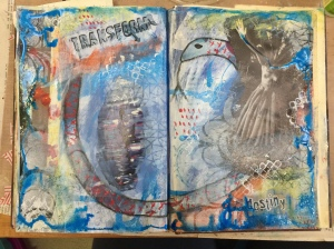 After adding more colors, stenciling, stamping, some marks, and a border with more acrylic ink my page is done.